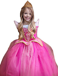 Cosplay Costumes Princess Festival/Holiday Halloween Costumes Rose Sparkling Glitter Lace Dress Christmas Children's Day New Year Kid