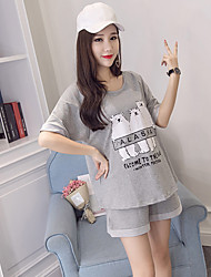 Pregnant Women Fashion Comfortable Cotton cartoon pattern Loose short sleeve blouse Blouse Recreational Shorts Two-Piece