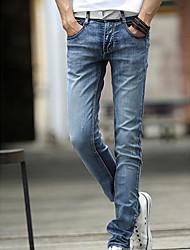 Homme simple Taille Normale Micro-élastique Cigarettes Jeans Pantalon,Slim Couleur Pleine