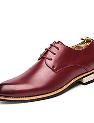 Для мужчин обувь Натуральная кожа Кожа Полиуретан Весна Осень Удобная обувь Светодиодные подошвы Формальная обувь Туфли на шнуровке