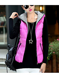 Women's Casual/Daily Simple Winter Vest,Solid Shawl Lapel Long Sleeve Regular Cotton