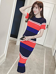 Women's Casual/Daily Bodycon Dress,Striped Round Neck Midi Short Sleeve Cotton Summer Mid Rise Micro-elastic Medium