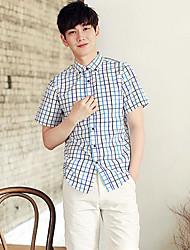 Men's Casual/Daily Simple Shirt,Check Shirt Collar Short Sleeves Cotton