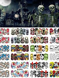 12 Sheets Halloween Nail Art Water Transfer Sticker Deer Full Cover Decals Skull Fancy Stickers Wrap Tips Decoration