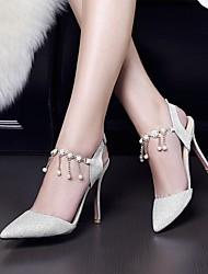 Для женщин Обувь Полиуретан Весна Лето Удобная обувь Обувь на каблуках На шпильке Заостренный носок С Назначение Повседневные Золотой
