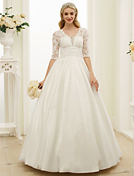 Ball Gown Plunging Neckline Floor Length Lace Taffeta Wedding Dress with Buttons Ruching by LAN TING BRIDE®