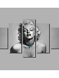 Framed Painting on Canvas Marilyn Monroe Portrait Beasuty Figure Prints HD Large 5 Pieces Combined Posters For Modern Home Wall Decorate