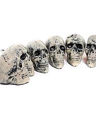Halloween Items Simulation Human Skull Plastic Model Halloween Skull Head Props 6 Pcs