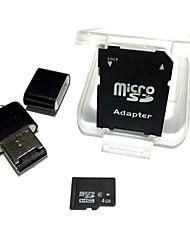 4gb microsdhc tf scheda di memoria con lettore di schede usb e adattatore sdhc sd