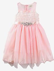 Girl Summer Dresses Sleeveless Cotton Pink Chiffon Princess Children Dress Baby Clothes