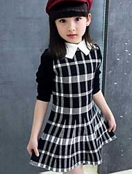 Menina de Vestido Xadrez Primavera Outono Algodão Manga Longa