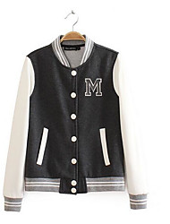 Women's Going out Simple Fall Vest,Color Block Letter Shirt Collar Long Sleeve Regular Polyester
