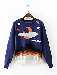 Women's Going out Casual/Daily Simple Street chic Regular Pullover,Solid Black Round Neck Long Sleeve Rayon Acrylic Polyester Fall Winter