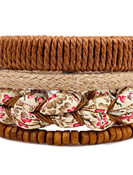 Men's Women's Strand Bracelet Wrap Bracelet Fashion Bohemian Adjustable Multi-ways Wear DIY Wood Polyester Round Flower Jewelry For