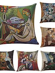 6 pcs Lin Coton/Lin Housse de coussin Taie d'oreiller,Texturé Plage Traditionnel/Classique Soutenir
