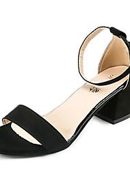Damen Sandalen Komfort Pumps PU Frühling Sommer Kleid Party & Festivität Schnalle Blockabsatz Schwarz Grau 5 - 7 cm