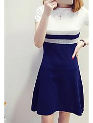 Для женщин На каждый день Оболочка Платье Полоски,Круглый вырез Выше колена С короткими рукавами Хлопок Лето Со стандартной талией