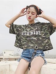 Damen camuflaje Einfach Lässig/Alltäglich T-shirt,Mit Kapuze Kurzarm Baumwolle