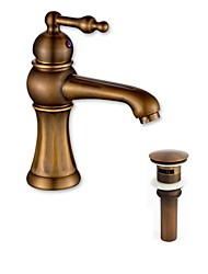 Traditional/Vintage Glam Classic Vessel Widespread with  Ceramic Valve One Hole for  Antique Copper , Bathroom Sink Faucet