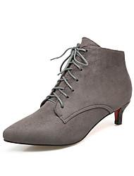 Women's Boots Comfort Fall Winter Leatherette Walking Shoes Casual Dress Lace-up Kitten Heel Black Gray Ruby Green 1in-1 3/4in