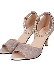 Women's Sandals Walking Comfort PVC Summer Outdoor Buckle Low Heel Gold Silver Under 1in