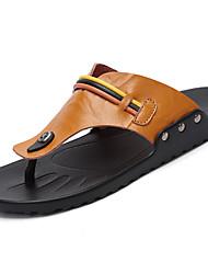 Men's Sandals Mary Jane Summer Cowhide Casual Buckle Flat Heel Black Light Brown Dark Brown Flat