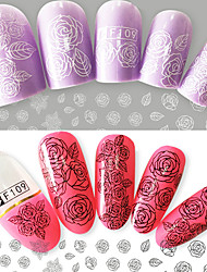 2pcs/Set Fashion Beautiful Black White Rose Design Nail Art 3D Flower Sticker Nail Art DIY Beauty Sweet Rose Design Sticker F109