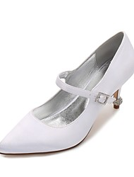 Women's Wedding Shoes Comfort Basic Pump Spring Summer Satin Wedding Party & Evening Dress Rhinestone Sparkling Glitter Buckle Low Heel