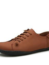 Da uomo Sneakers Cinturino alla caviglia Autunno Inverno Di pelle Casual Lacci Nero Blu marino Marrone chiaro Piatto