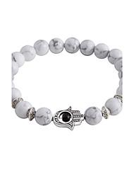 Lureme Men Women 8MM Round White Turquoise Beads Bracelet with Hamsa Hand Jewelry