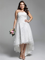 A-Line Strapless Asymmetrical Lace Tulle Wedding Dress with Beading Appliques Ruching by LAN TING BRIDE®