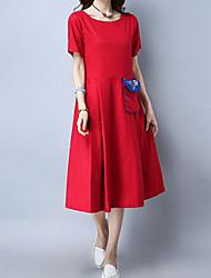 Для женщин На каждый день Шинуазери (китайский стиль) Свободный силуэт Платье Вышивка,Круглый вырез Средней длины С короткими рукавами