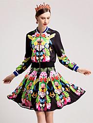 Dámské Květinový Běžné/Denní Jednoduchý Trička Sukně Obleky-Podzim Kulatý Dlouhý rukáv