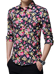 Men's Party Plus Size Holiday Going out Casual/Daily Work Vintage Boho Cute Fall Winter Shirt,Floral Shirt Collar Long SleevesCotton