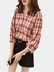 Для женщин На каждый день Осень Рубашка V-образный вырез,Секси В клетку Рукав 3/4,Полиэстер