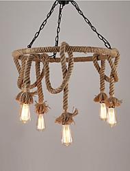 Lámpara colgante de cuerda de cáñamo industrial de la vendimia con la lámpara de la lámpara de 6 luces salón luminaria del comedor