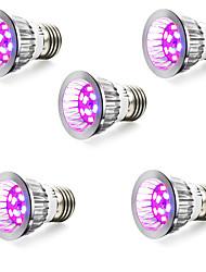 5W E14 GU10 E27 Luci LED per la coltivazione 10 SMD 5730 165-190 lm Blu Rosso V 5 pezzi