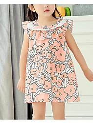 Menina de Vestido Floral Verão Algodão Manga Curta