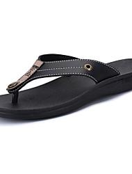 Men's Slippers & Flip-Flops Comfort Summer PU Casual Flat Heel Black Brown Flat