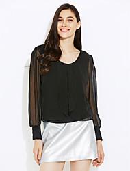 Women's Plus Size Solid Black/Purple T-shirt,Casual Round Collar Long Lantern Sleeve