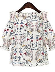 Tee-shirt Femme,Imprimé Décontracté / Quotidien simple Manches 3/4 Bateau Polyester