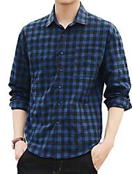 Men's Casual/Daily Simple Spring Fall Shirt,Check Shirt Collar Long Sleeves Cotton Acrylic Medium