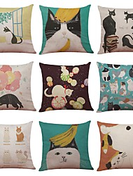 Set of 9 Japanese Bobtail Pattern Linen Cushion Cover Home Office Sofa Square Pillow Case Decorative Cushion Covers Pillowcases (18*18)