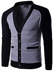 Men's Holiday Going out Casual/Daily Work Club Vintage Simple Cute Regular Cardigan,Color Block Deep V Long Sleeves Cotton Polyester