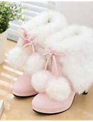 Women's Boots Comfort PU Winter Casual Comfort Blushing Pink 4in-4 3/4in
