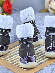Dog Shoes & Boots Casual/Daily Keep Warm Waterproof Solid Coffee Brown Red Blue Blushing Pink