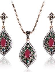 Mulheres Brincos Compridos Colares com Pendentes Diamante Esmeralda Vintage Jóias de Luxo Chrismas Clássico Elegant Esmeralda Liga Forma