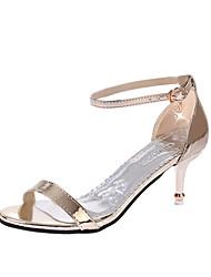 Для женщин Сандалии Удобная обувь Полиуретан Лето На шпильке Золотой Серебряный Бледно-розовый цвет Более 12 см