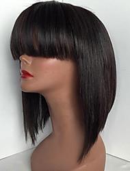 Soie cheveux droles bob perruques avec bangs glueless perruques en dentelle pleine pour les femmes noires à la vente