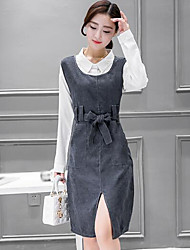Women's Casual/Daily Work Simple Spring Shirt Skirt Suits,Solid Shirt Collar Long Sleeve